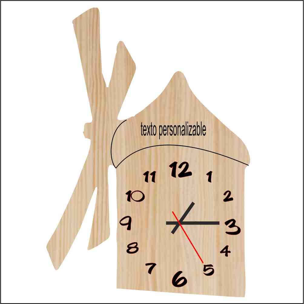 Reloj madera molino de viento. Personalizable.