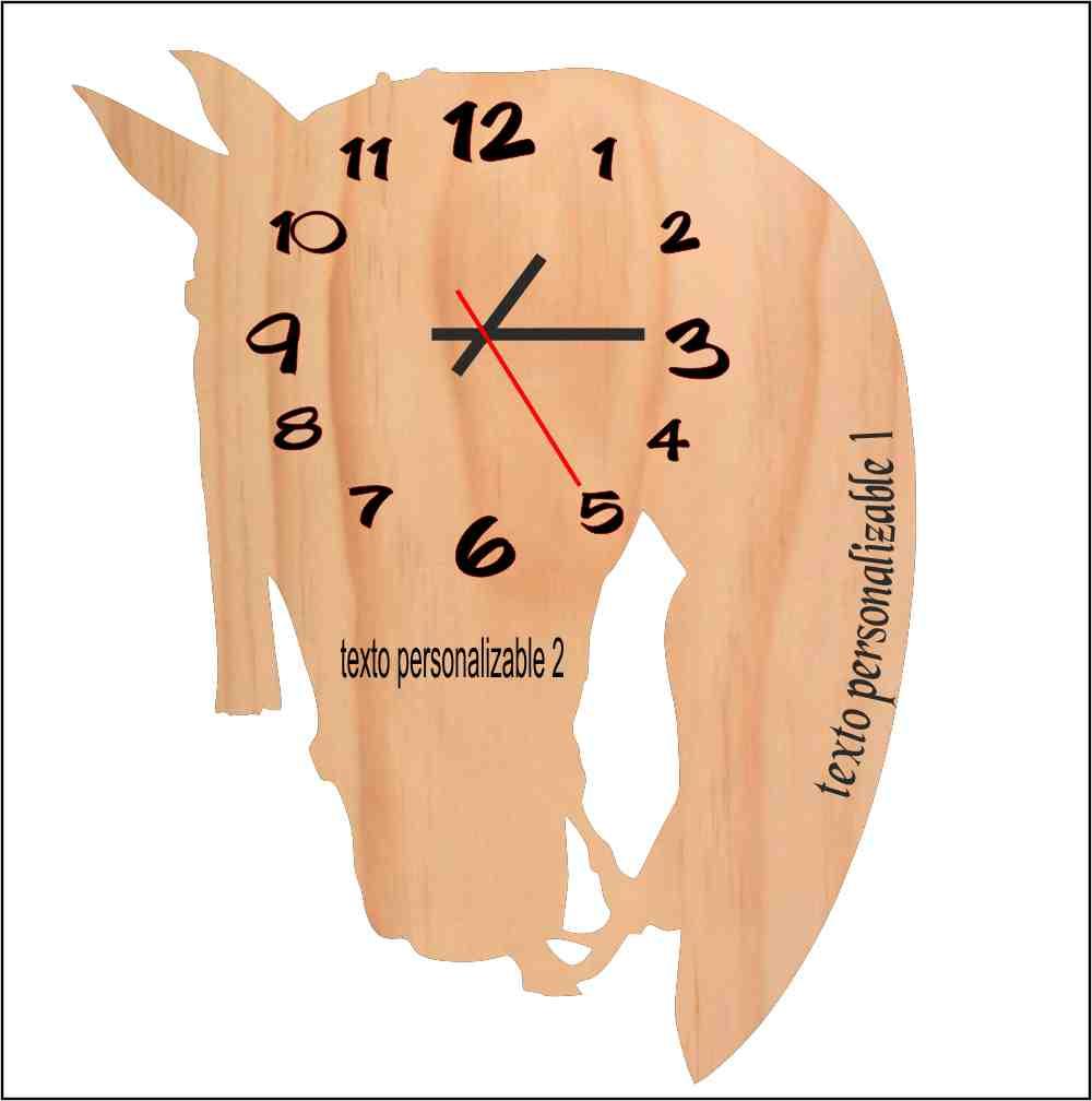 Reloj madera cabeza de caballo. Personalizable.