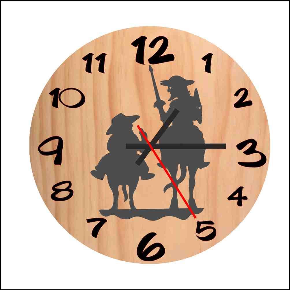 Reloj de madera Don Quijote y Sancho madera 5mm