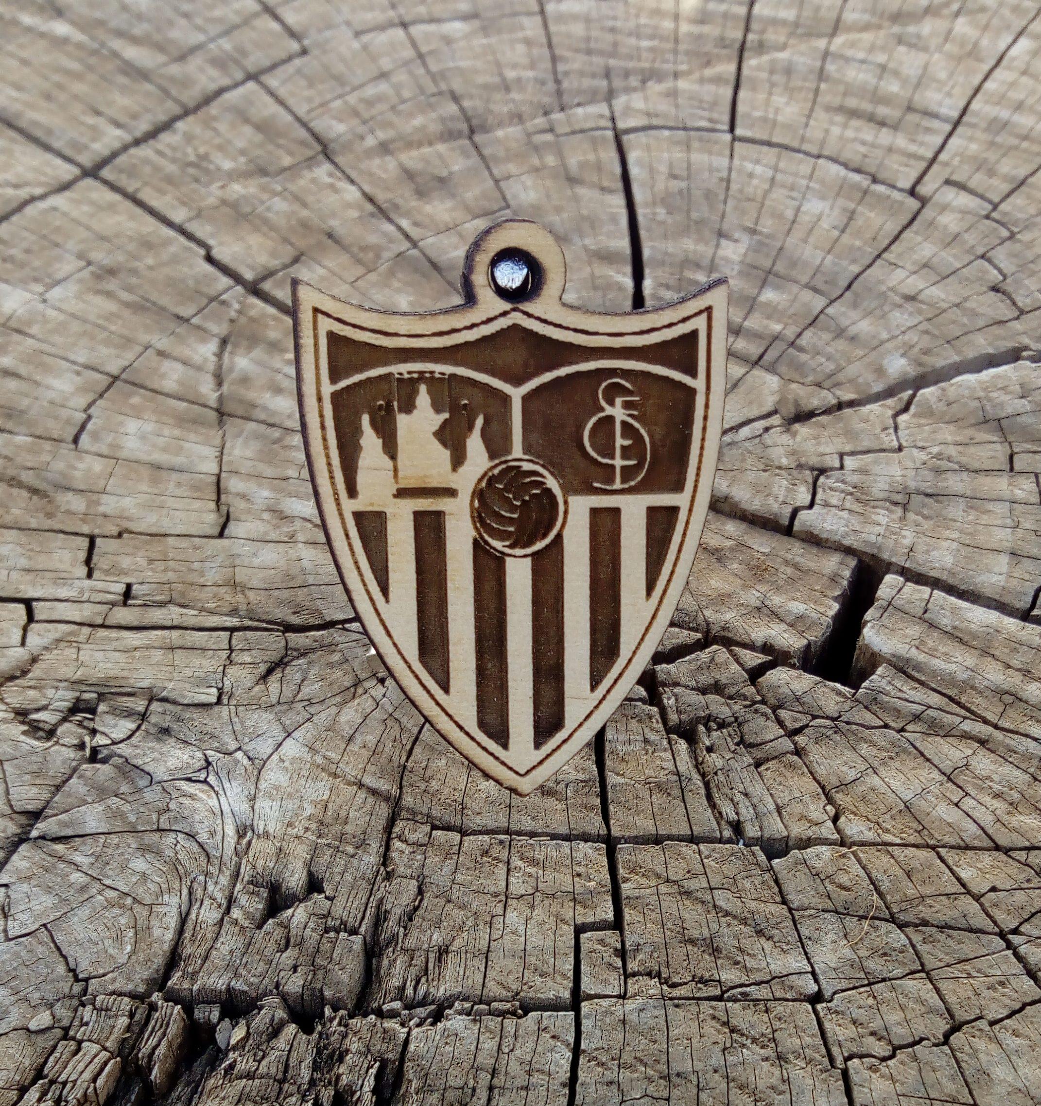Llavero de madera de pino Equipo Sevilla Futbol Club