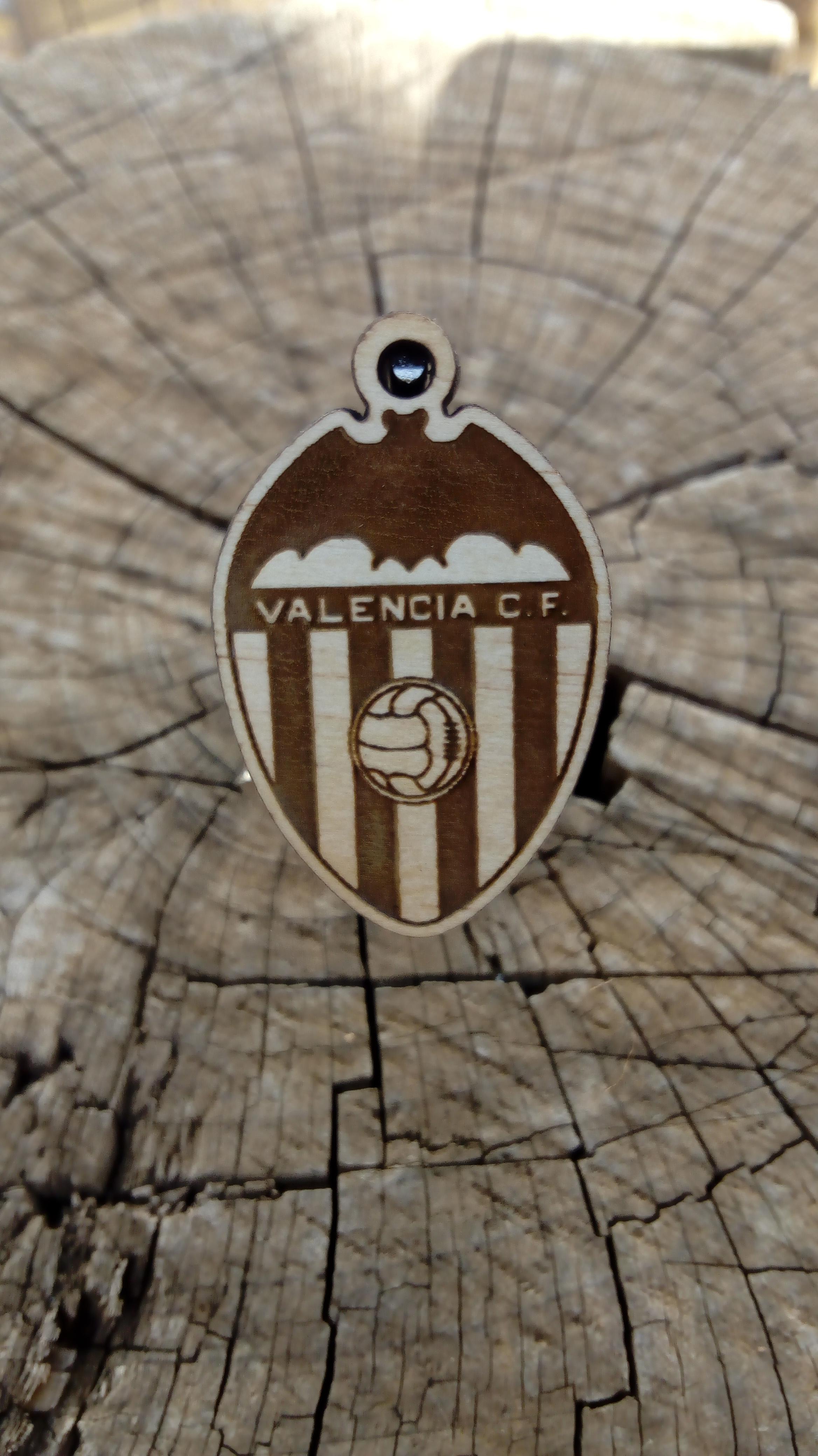 Llavero de madera de pino Valencia Club de Futbol